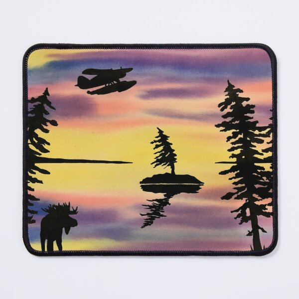 Northern Watercolour Moose and the Norseman Mouse Pad