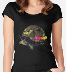"""""""Born to Chill"""" Full Metal Snail Turtle Women's Fitted Scoop T-Shirt"""