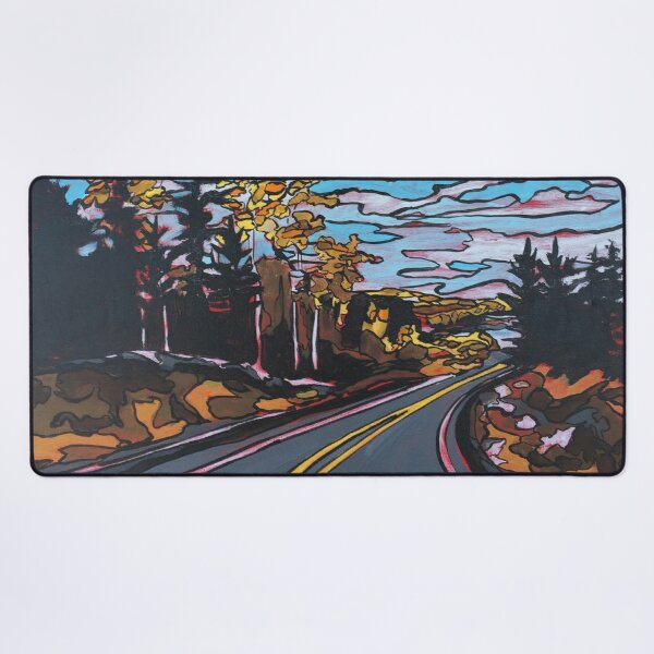 Highway 105 North Print of Acrylic Painting  Desk Mat