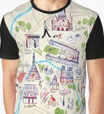 Paris illustrated Map Graphic T-Shirt