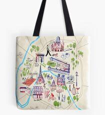 Paris illustrated Map Tote Bag