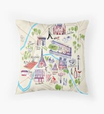 Paris illustrated Map Throw Pillow