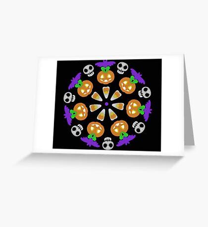 Halloween Pumpkin Mandala Wheel Greeting Card