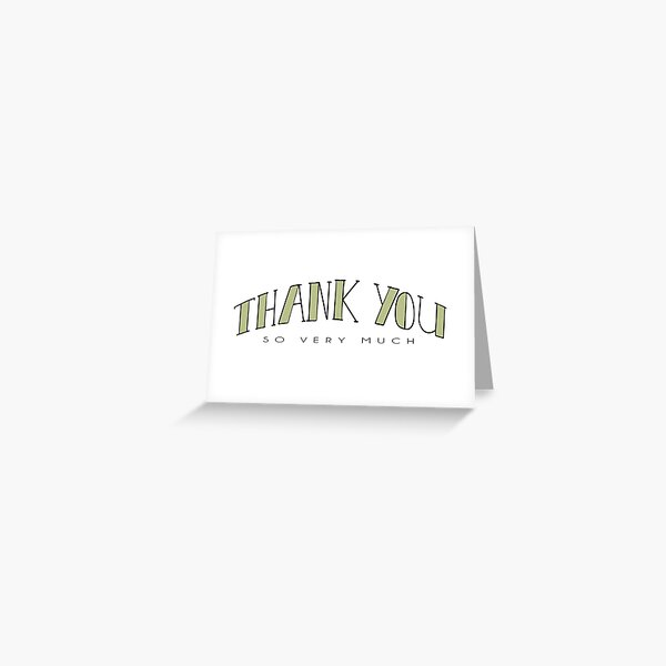 Thank You So Very Much Minimalist Typography Greeting Card