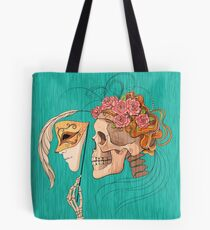illustration with skull holding a human face mask Tote Bag