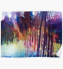 Lampi di luce nella forest Poster
