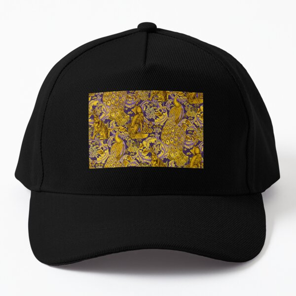 GOLD YELLOW PURPLE FOREST ANIMALS ,PEACOCKS, FOX AND HARE  Baseball Cap
