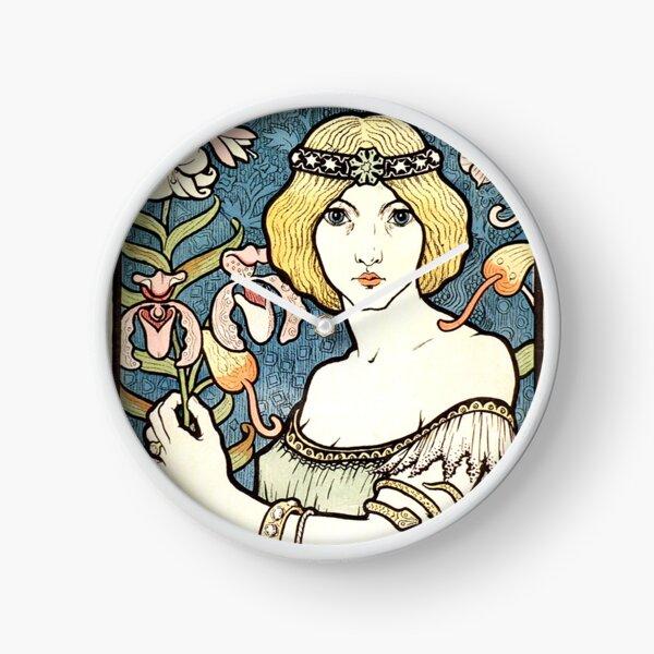Pretty Art Nouveau Print - Girl with Flowers Clock