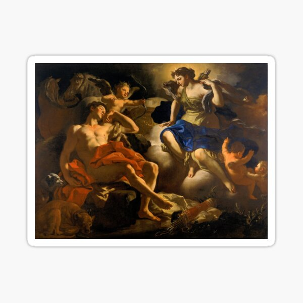 Diana and Endymion by Francesco Solimena (c1710) Sticker