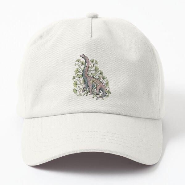 Brachio Ginkgo   Calm Color Palette   Dinosaur Botanical Art Dad Hat