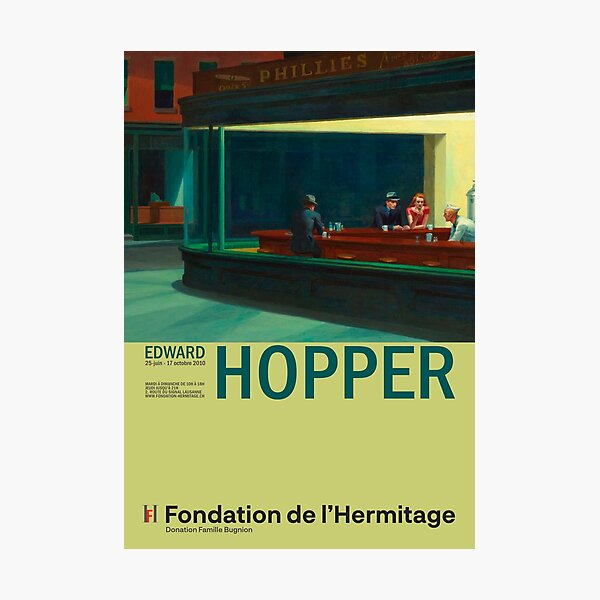 Edward Hopper - Nighthawks - Minimalist Exhibition Art Poster Photographic Print