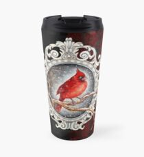 Red cardinal in lace Travel Mug