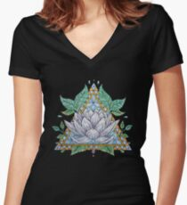 Stained Glass Lotus Illustration Women's Fitted V-Neck T-Shirt