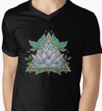 Stained Glass Lotus Illustration V-Neck T-Shirt