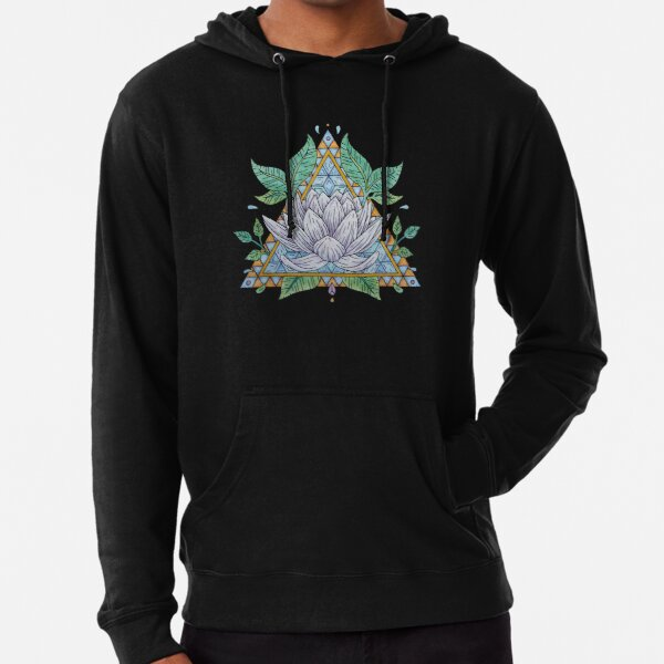Stained Glass Lotus Illustration Lightweight Hoodie