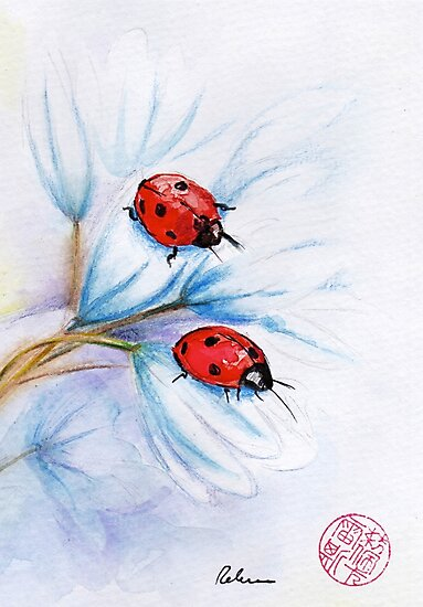 """""""companions""""  ladybugs mixed media painting - watercolor, ink, colored pencil by Rebecca Rees"""