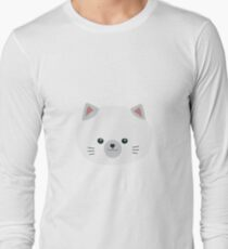 Cute white kitty with gray ears Long Sleeve T-Shirt