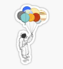 Astronaut  with Balloon Planets Sticker