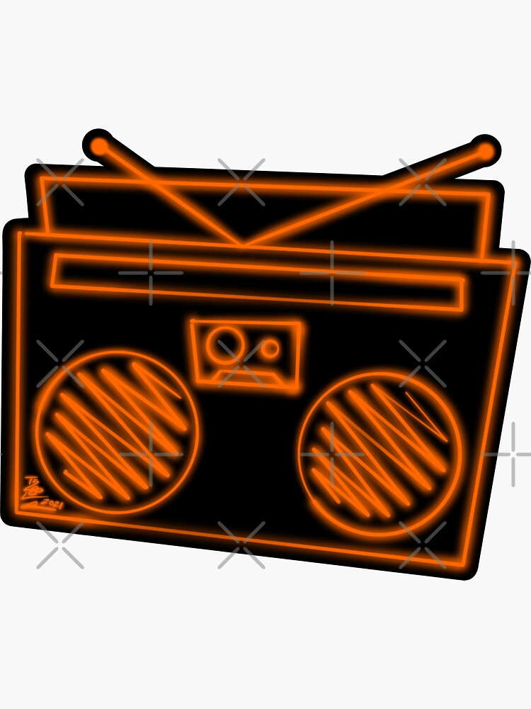 Funky Orange Neon Boombox by that5280lady