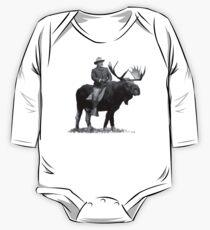 Teddy Roosevelt Riding A Bull Moose Langärmeliger Einteiler