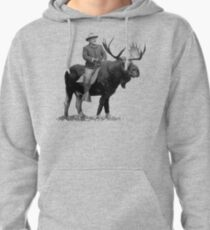 Teddy Roosevelt Riding A Bull Moose Pullover Hoodie