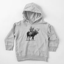 Teddy Roosevelt Riding A Bull Moose Toddler Pullover Hoodie