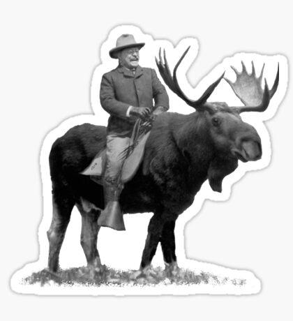 Teddy Roosevelt Riding A Bull Moose Sticker