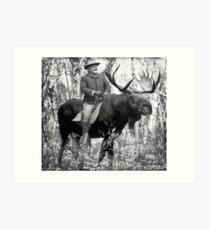 Teddy Roosevelt Riding A Bull Moose Art Print