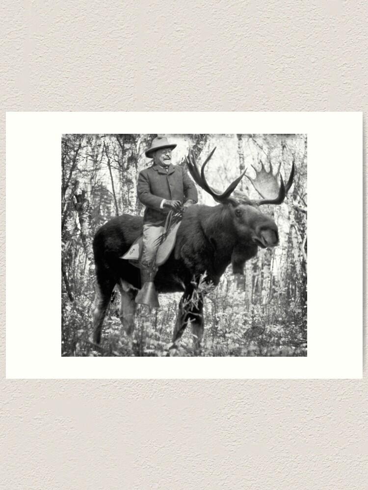 Alternate view of Teddy Roosevelt Riding A Bull Moose Art Print