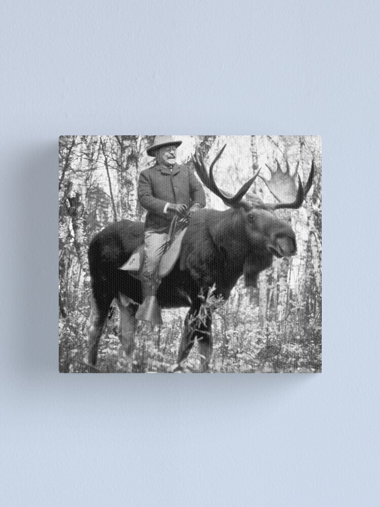 Alternate view of Teddy Roosevelt Riding A Bull Moose Canvas Print