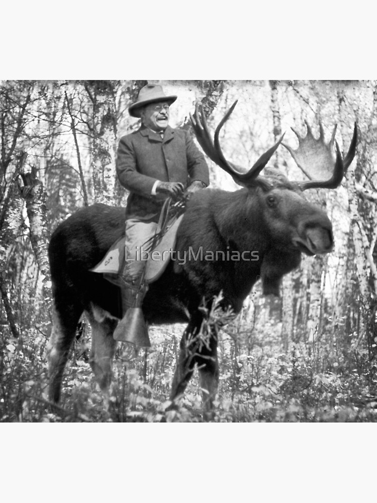 Teddy Roosevelt Riding A Bull Moose by LibertyManiacs
