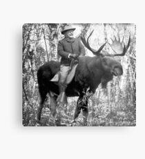 Teddy Roosevelt Riding A Bull Moose Metal Print