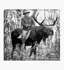 Teddy Roosevelt Riding A Bull Moose Fotodruck
