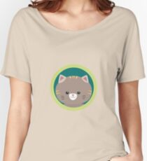 Cute tiger kitty with green circle Women's Relaxed Fit T-Shirt