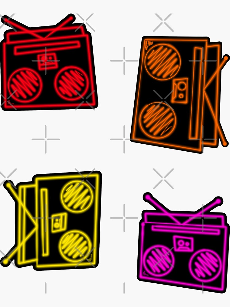 Funky Neon Boomboxes Sticker Pack Pattern  by that5280lady