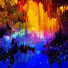 CASTLES IN THE MIST Bold Rainbow Colorful Magical Fantasy Fine Art Abstract Acrylic Painting by EbiEmporium