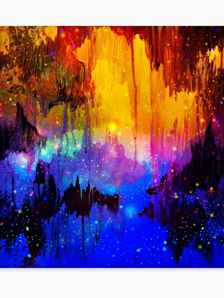 Castles In The Mist Bold Rainbow Colorful Magical Fantasy Fine Art Abstract Acrylic Painting Canvas Print