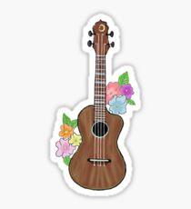 Ukulele mit Blumen Sticker