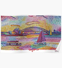 Sydney Harbour Bridge and Opera house.  Poster