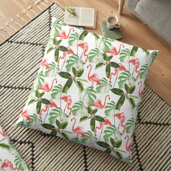 Colorful floral pattern with flamingo and leaves Floor Pillow