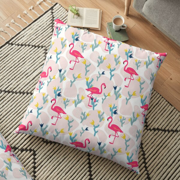 Flamingo Abstract floral elements paper collage Floor Pillow