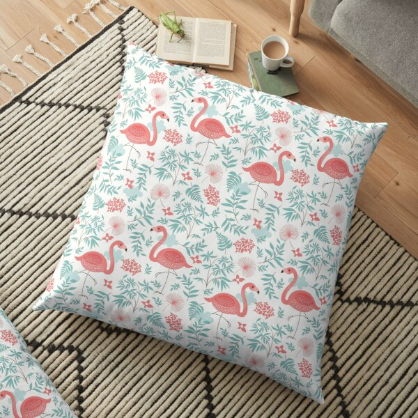 Seamless pattern with a flamingo Floor Pillow