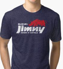 Suzuki Jimny Owners of Australia - Grunge Rhino Red Reversed Tri-blend T-Shirt