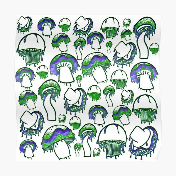 neon mushrooms Poster
