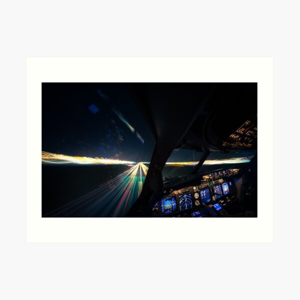 Approaching the runway at night Art Print