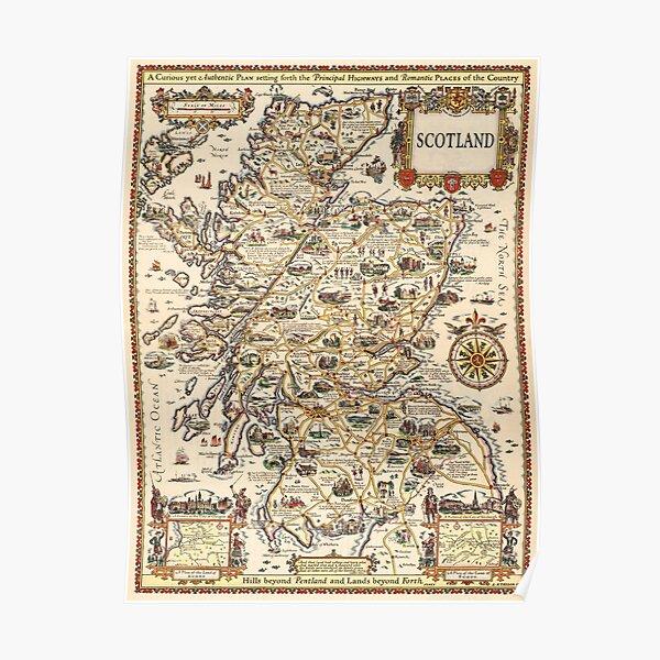 1927 vintage Scotland map design - unique gift idea Poster