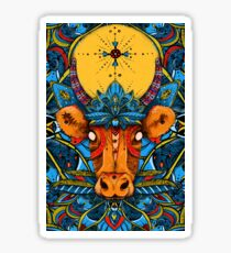 Holy Cow! Blue Lotus Mandala. Sticker