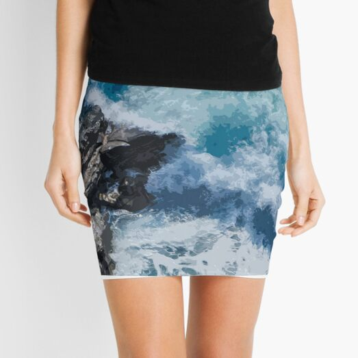 Illustration of Blue Ocean Waves and Coral Reefs - Best  Mini Skirt