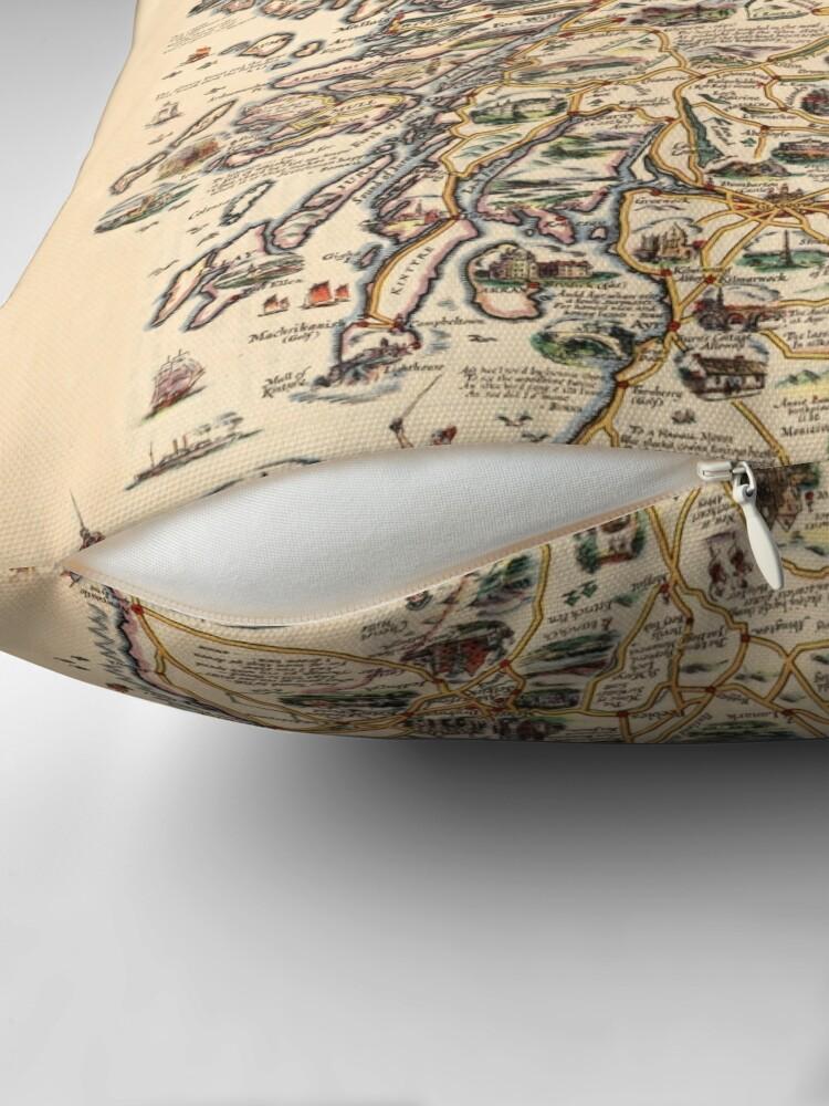 Alternate view of 1927 vintage Scotland map design - unique gift idea Throw Pillow