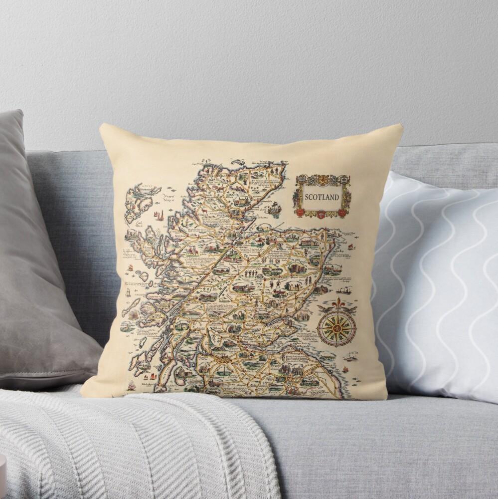 1927 vintage Scotland map design - unique gift idea Throw Pillow